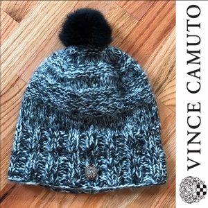 Vince Camuto Knit Rabbit Fur Pom Hat